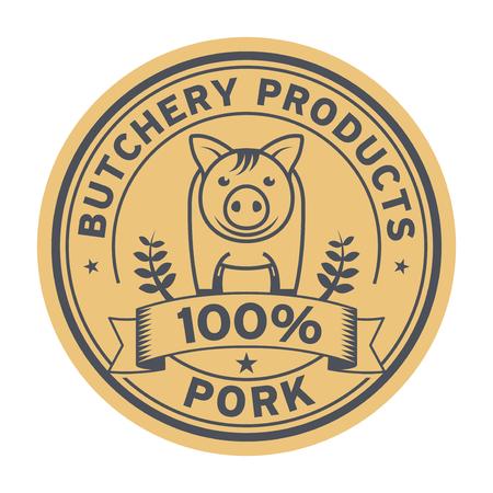 Pig Farm animal livestock, pork label or butchery sign, vector illustration