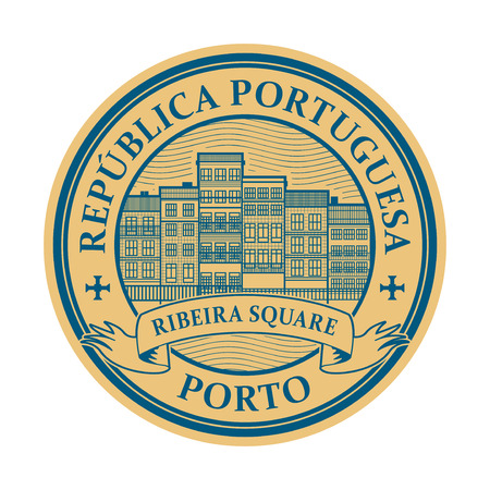Stamp with district of Ribeira buildings and the words Porto, Portuguese Republic, written inside, vector illustration