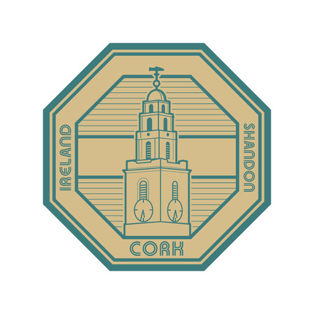 Stamp with The Clock Tower of St Annes church, and the words Ireland, Cork, Shandon written inside, vector illustration