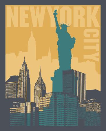 Manhattan, New York city, silhouette illustration in flat design, t-shirt print design or poster, vector illustration Ilustrace