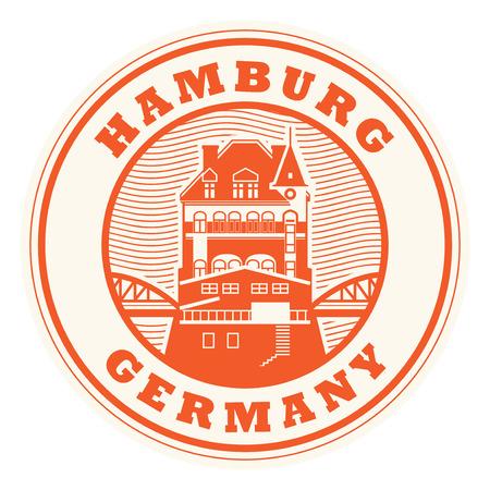 Stamp or label with words Hamburg, Germany inside, vector illustration