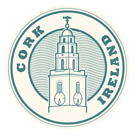 Sello o etiqueta con palabras Cork, Irlanda en el interior, ilustración vectorial