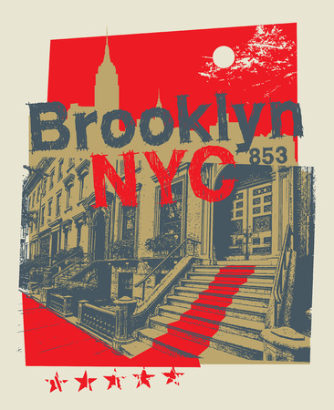 Brooklyn Heights, New York city, silhouette illustration in flat design, t-shirt print design or poster, vector illustration  イラスト・ベクター素材