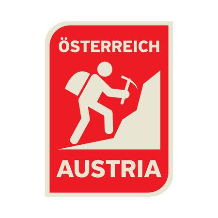 Rock climbing club label, sticker or emblem with text Austria (on German language too), vector illustration Illustration