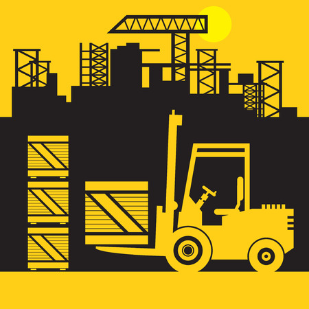 Fork Lift Truck, Construction power machinery, abstract sign or symbol, vector illustration