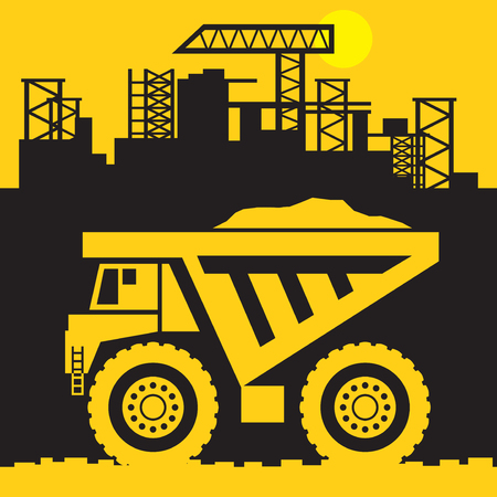 Giant Dump Truck, Construction power machinery, sign or symbol, vector illustration