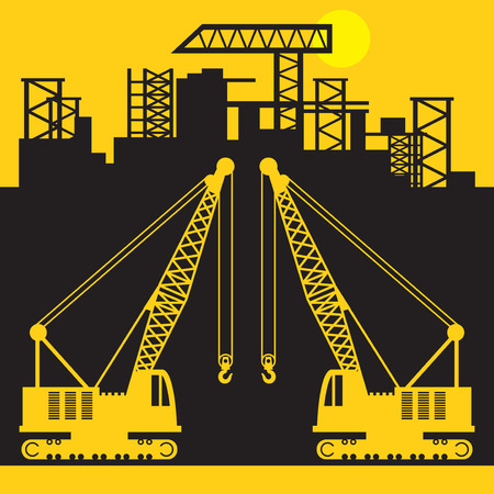 Crane, Construction power machinery, Crane tractor sign or symbol, vector illustration