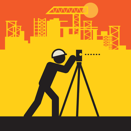 Civil engineer use the theodolite on a construction site, vector illustration