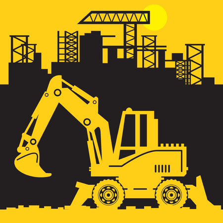 Digger, Construction power machinery, Excavator abstract sign or symbol, vector illustration