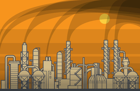 Oil refinery. Industrial view at oil refinery plant with sunrise and smoke in sky. Vector illustration