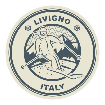 Abstract stamp or emblem with the name of town Livigno ski resort in Italy, vector illustration