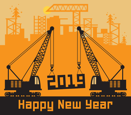 Cranes, Construction power machinery, Happy New Year card, vector illustration