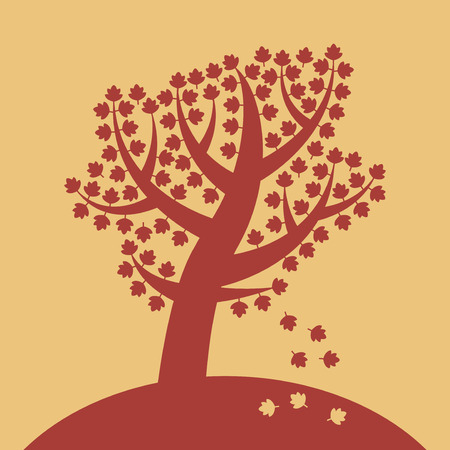 Silhouette of a tree. Sign or symbol. Vector illustration 写真素材 - 113371969