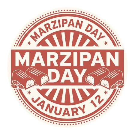 Marzipan Day, January 12, rubber stamp, vector Illustration