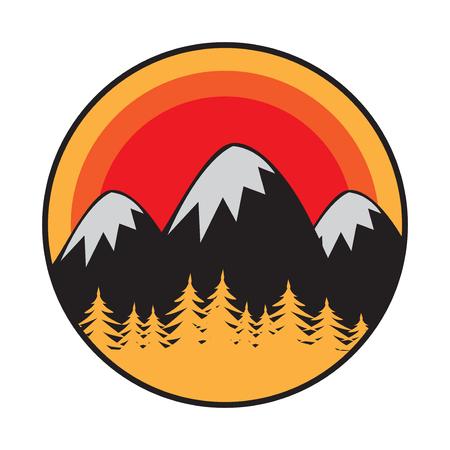 Mountain logo, icon or symbol design template, vector illustration Illustration