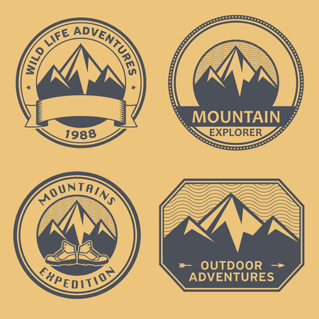 Mountain wild adventure signs or stamps set, vector illustration Illustration