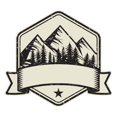 Mountain logo, stamp or symbol design template, vector illustration Illustration