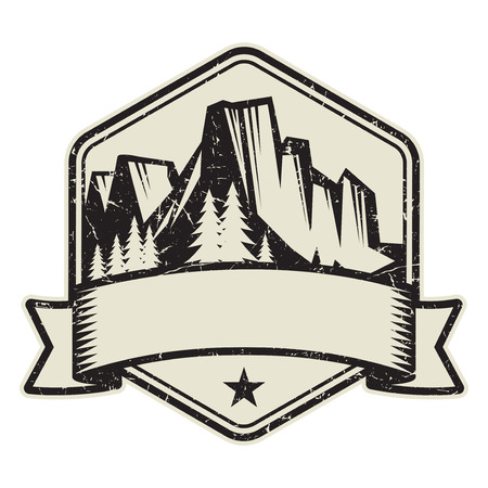 Mountain logo, stamp or symbol design template, vector illustration Logo