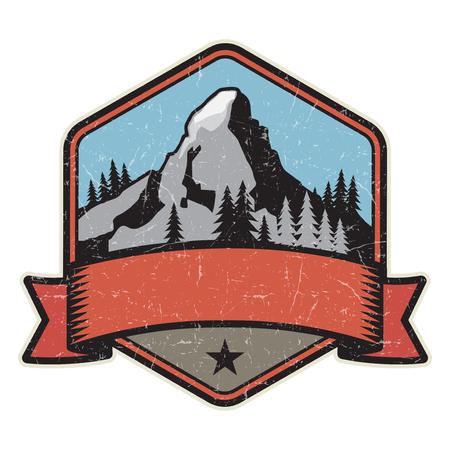 Mountain logo, stamp or symbol design template, vector illustration
