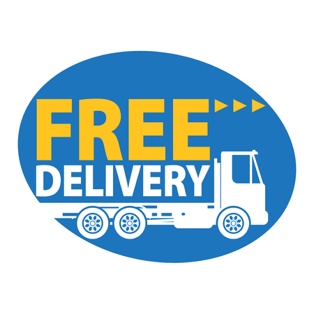 Commercial vehicle - delivery truck with text free delivery, vector illustration