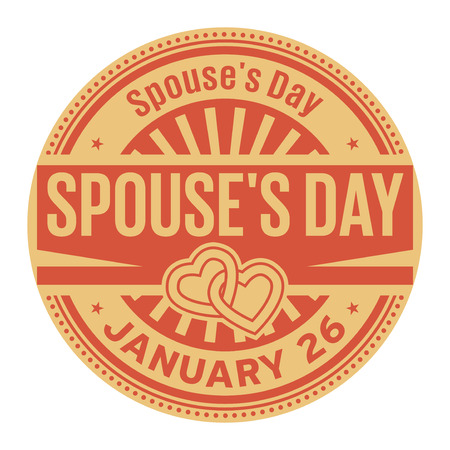 Spouses Day, January 26, rubber stamp, vector Illustration 矢量图像