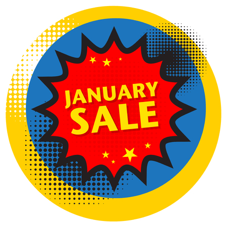 Comic explosion with text January Sale, vector illustration
