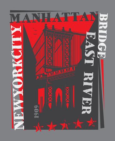 Manhattan bridge, New York city, silhouette illustration in flat design, t-shirt print design or poster, vector illustration Vettoriali
