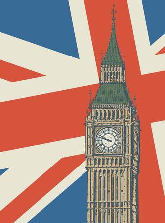 Abstract poster wit United kingdom flag and Big Ben - famous London Landmark, vector illustration
