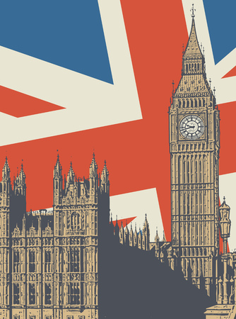 Abstract poster with Palace of Westminster and Elizabeth Tower - famous London Landmark, vector illustration Illustration