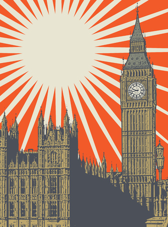 Abstract poster with Palace of Westminster and Elizabeth Tower - famous London Landmark, vector illustration Çizim