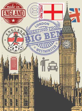 Set London symbols or icons, vector illustration