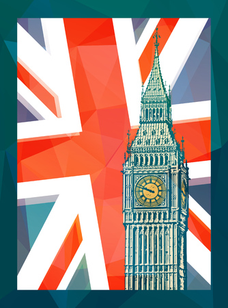 Abstract poster with Elizabeth Tower - famous London Landmark, vector illustration