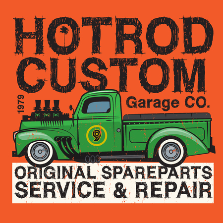 Retro pickup truck poster with text Hot Rod Garage Custom service and repair. Vector illustration Vector Illustration