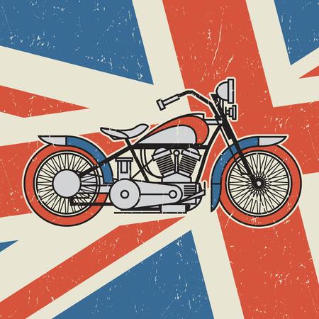 Vintage motorcycle on United Kingdom flag background, poster or biker club emblem, vector illustration