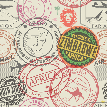 Seamless pattern with visa rubber stamps on passport with text Africa, Zimbabwe, Congo, South Africa, Sahara, immigration signs, airport travel, vector illustration 向量圖像