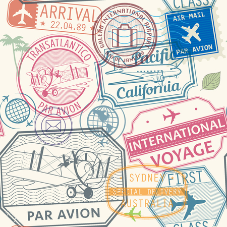 Seamless pattern with visa rubber stamps on passport with text Par Avion, First Class, international, Sydney, Pacific, California, immigration signs, airport travel, vector illustration