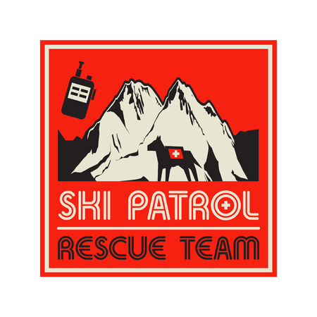 Mountains landscape. Adventure outdoor expedition mountain snowy peak, mountain sign or symbol with text Ski Patrol, Rescue Team, vector illustration