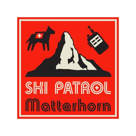 Mountains landscape. Adventure outdoor expedition mountain mountain snowy peak mountain sign or symbol with text Ski Patrol, Matterhorn, vector illustration