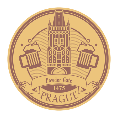 Abstract Stamp with the name of Prague, Czech Republic, Powder Gate written inside the stamp, vector illustration Vectores