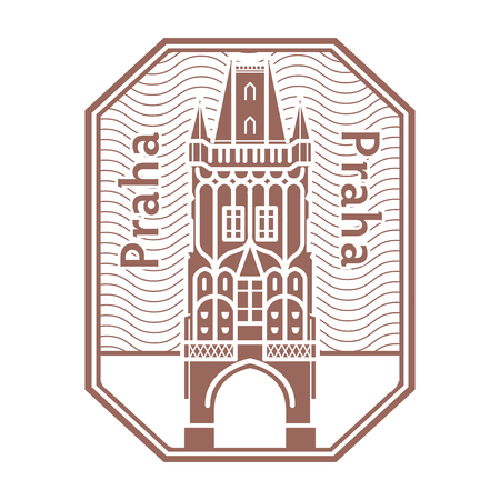 Abstract Stamp with the name of Prague, Czech Republic written inside the stamp, vector illustration