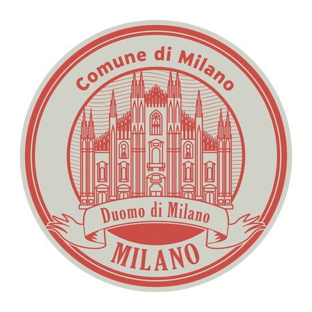 Abstract rubber stamp with Milan Cathedral, and text Milan, Comude di Milano inside, vector illustration