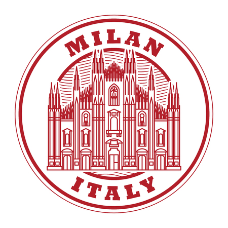 Abstract rubber stamp with Milan Cathedral inside, vector illustration