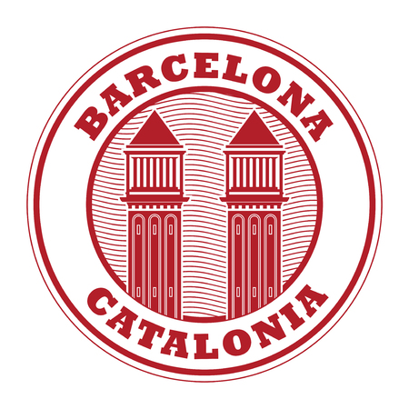 Abstract rubber stamp with Venetian Towers, and text Barcelona, Catalonia inside, vector illustration