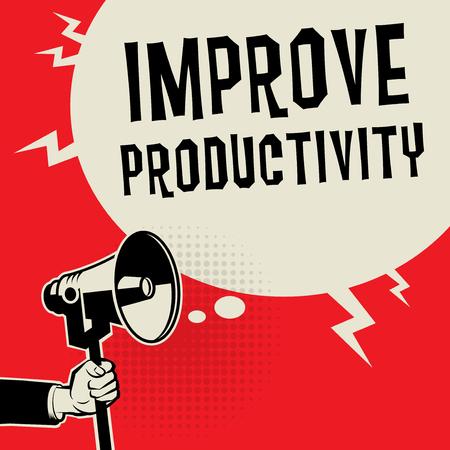 Concept d'entreprise main mégaphone avec texte Améliorer la productivité, illustration vectorielle