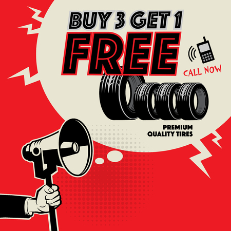 Vintage tire service or garage poster with text Buy 3 get 1 Free, vector illustration