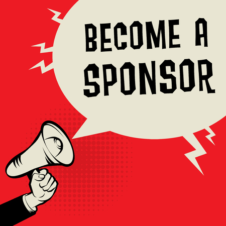 Concept d'entreprise de mégaphone main avec texte Devenir un sponsor, illustration vectorielle