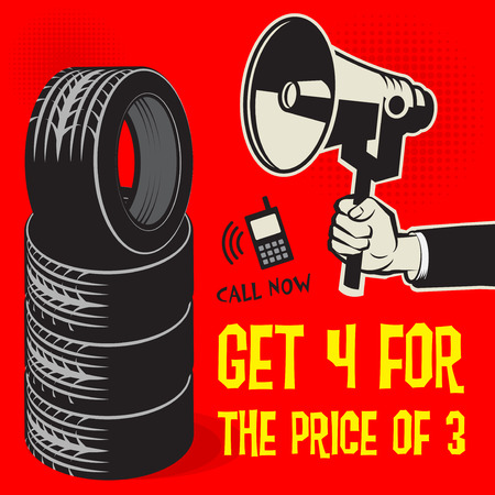 Tire service or garage poster with text Get 4 for the Price of 3, Sale, vector illustration Illustration