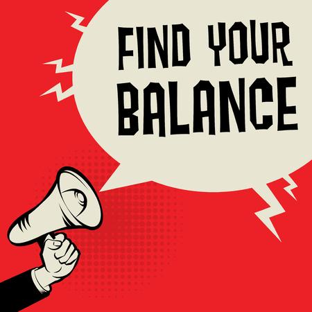 Megaphone Hand business concept with text Find Your Balance, vector illustration Illusztráció