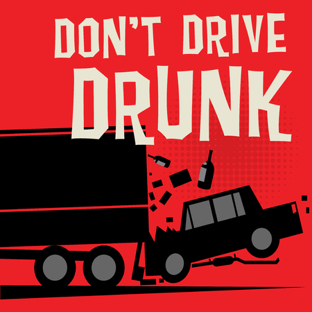 Stop Drunk Driving Accidents poster, vector illustration  イラスト・ベクター素材