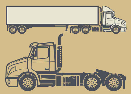 Modern Cargo Truck Trailer. Cargo delivering vehicle, vector illustration
